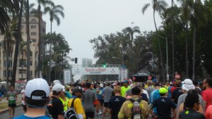 Starting Line, Corral 5. Yes, some guy is wearing firefighter gear.